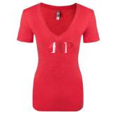 Next Level Ladies Vintage Red Tri Blend V-Neck Tee-PHP Foil
