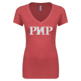 Next Level Ladies Vintage Red Tri Blend V-Neck Tee-PHP White Soft Glitter