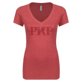 Next Level Ladies Vintage Red Tri Blend V-Neck Tee-PHP Red Glitter