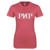 Next Level Ladies SoftStyle Junior Fitted Pink Tee-PHP White Soft Glitter