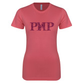 Next Level Ladies SoftStyle Junior Fitted Pink Tee-PHP Hot Pink Glitter