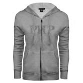 ENZA Ladies Grey Fleece Full Zip Hoodie-PHP Silver Soft Glitter