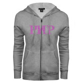 ENZA Ladies Grey Fleece Full Zip Hoodie-PHP Lilac Soft Glitter