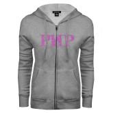 ENZA Ladies Grey Fleece Full Zip Hoodie-PHP Lilac Soft Glitter