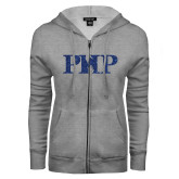 ENZA Ladies Grey Fleece Full Zip Hoodie-PHP Dark Blue Glitter
