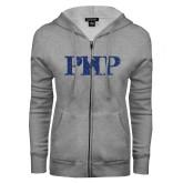 ENZA Ladies Grey Fleece Full Zip Hoodie-PHP Dark Blue Glitter