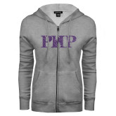 ENZA Ladies Grey Fleece Full Zip Hoodie-PHP Purple Glitter