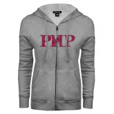 ENZA Ladies Grey Fleece Full Zip Hoodie-PHP Hot Pink Glitter