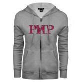 ENZA Ladies Grey Fleece Full Zip Hoodie-PHP Hot Pink Glitter