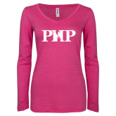 ENZA Ladies Hot Pink Long Sleeve V Neck Tee-PHP