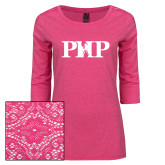 Ladies Dark Fuchsia Heather Tri Blend Lace 3/4 Sleeve Tee-PHP