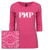 Ladies Dark Fuchsia Heather Tri Blend Lace 3/4 Sleeve Tee-PHP