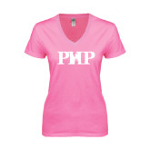 Next Level Ladies Junior Fit Deep V Pink Tee-PHP