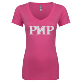 Next Level Ladies Junior Fit Deep V Pink Tee-PHP White Soft Glitter