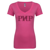 Next Level Ladies Junior Fit Deep V Pink Tee-PHP Hot Pink Glitter