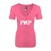 Next Level Ladies Vintage Pink Tri Blend V-Neck Tee-PHP