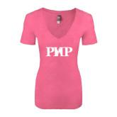 Next Level Ladies Vintage Pink Tri Blend V-Neck Tee-PHP