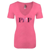 Next Level Ladies Vintage Pink Tri Blend V-Neck Tee-PHP Foil