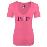 Next Level Ladies Vintage Pink Tri Blend V-Neck Tee-PHP Foil