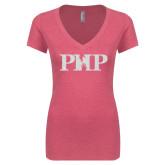Next Level Ladies Vintage Pink Tri Blend V-Neck Tee-PHP White Soft Glitter