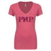 Next Level Ladies Vintage Pink Tri Blend V-Neck Tee-PHP Hot Pink Glitter