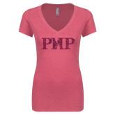 Next Level Ladies Vintage Pink Tri Blend V-Neck Tee-PHP Hot Pink Glitter
