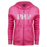 ENZA Ladies Fuchsia Fleece Full Zip Hoodie-PHP White Soft Glitter