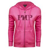 ENZA Ladies Fuchsia Fleece Full Zip Hoodie-PHP Hot Pink Glitter