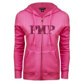 ENZA Ladies Fuchsia Fleece Full Zip Hoodie-PHP Hot Pink Glitter