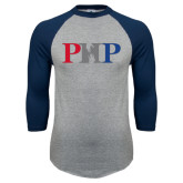 Grey/Navy Raglan Baseball T Shirt-PHP