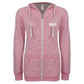 ENZA Ladies Hot Pink Marled Full Zip Hoodie-PHP
