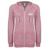 ENZA Ladies Hot Pink Marled Full Zip Hoodie-PHP