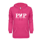 ENZA Ladies Hot Pink V Notch Raw Edge Fleece Hoodie-PHP People Helping People