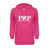 ENZA Ladies Hot Pink V Notch Raw Edge Fleece Hoodie-PHP Agency