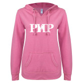ENZA Ladies Hot Pink V Notch Raw Edge Fleece Hoodie-PHP