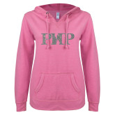 ENZA Ladies Hot Pink V Notch Raw Edge Fleece Hoodie-PHP Silver Soft Glitter
