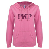 ENZA Ladies Hot Pink V Notch Raw Edge Fleece Hoodie-PHP Pink Glitter