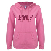 ENZA Ladies Hot Pink V Notch Raw Edge Fleece Hoodie-PHP Hot Pink Glitter
