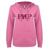 ENZA Ladies Hot Pink V Notch Raw Edge Fleece Hoodie-PHP Hot Pink Glitter