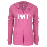 ENZA Ladies Hot Pink Light Weight Fleece Full Zip Hoodie-PHP