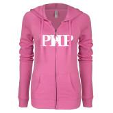 ENZA Ladies Hot Pink Light Weight Fleece Full Zip Hoodie-PHP