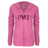 ENZA Ladies Hot Pink Light Weight Fleece Full Zip Hoodie-PHP Hot Pink Glitter