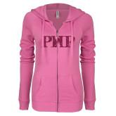 ENZA Ladies Hot Pink Light Weight Fleece Full Zip Hoodie-PHP Hot Pink Glitter