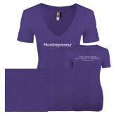 Next Level Ladies Vintage Purple Rush Tri Blend V Neck Tee-Momtrepreneur