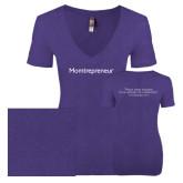 Next Level Ladies Vintage Purple Rush Tri Blend V Neck Tee-Momtrepreneur