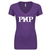 Next Level Ladies Vintage Purple Rush Tri Blend V Neck Tee-PHP