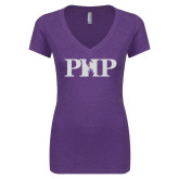 Next Level Ladies Vintage Purple Rush Tri Blend V Neck Tee-PHP White Soft Glitter