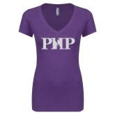 Next Level Ladies Vintage Purple Rush Tri Blend V Neck Tee-PHP White Soft Glitter
