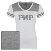 Ladies White/Heathered Nickel Juniors Varsity V Neck Tee-PHP Silver Soft Glitter