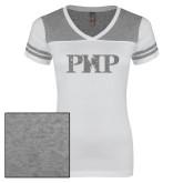 Ladies White/Heathered Nickel Juniors Varsity V Neck Tee-PHP Silver Soft Glitter